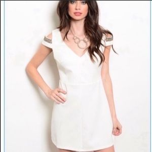 Ark & co. Ivory beaded cut out dress